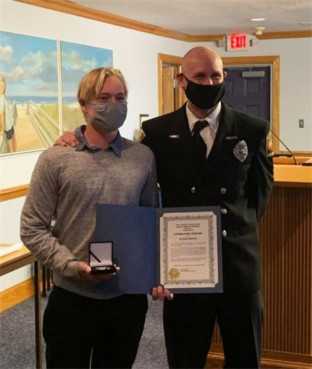 At the November 4, 2020 Nags Head Board of Commissioners meeting, Ocean Rescue Captain Chad Motz presented Lifeguard Ethan White with the Town's Lifesaving Award for a rescue he conducted on October 13, 2020. We're proud to have you as a member of one of the East Coast's most highly qualified, award-winning ocean rescue teams, Ethan. Thank you!