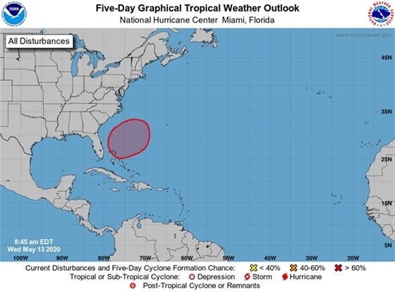 The National Hurricane Center is watching a broad area of low pressure,which is expected to develop late this week or early this weekend over the southwest Atlantic Ocean near or within a couple of hundred miles north of the Bahamas. Environmental conditions appear conducive for gradual development of this system, and a subtropical depression or storm is likely to form this weekend while it moves northeastward over the western Atlantic.