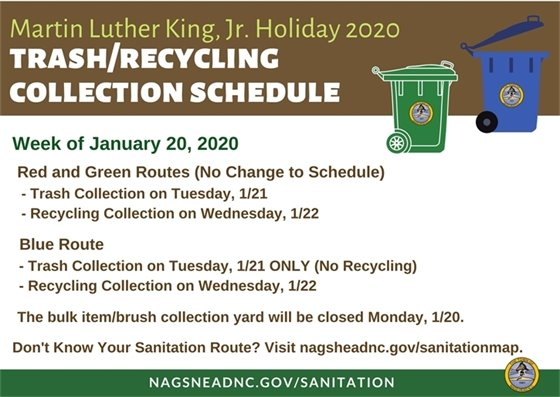 Martin Luther King, Jr. Holiday 2020 Trash/Recycling Collection Schedule