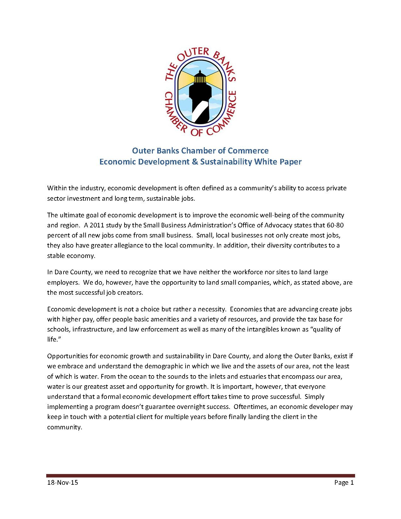 The Outer Banks Chamber of Commerce Economic Development & Sustainability White Paper