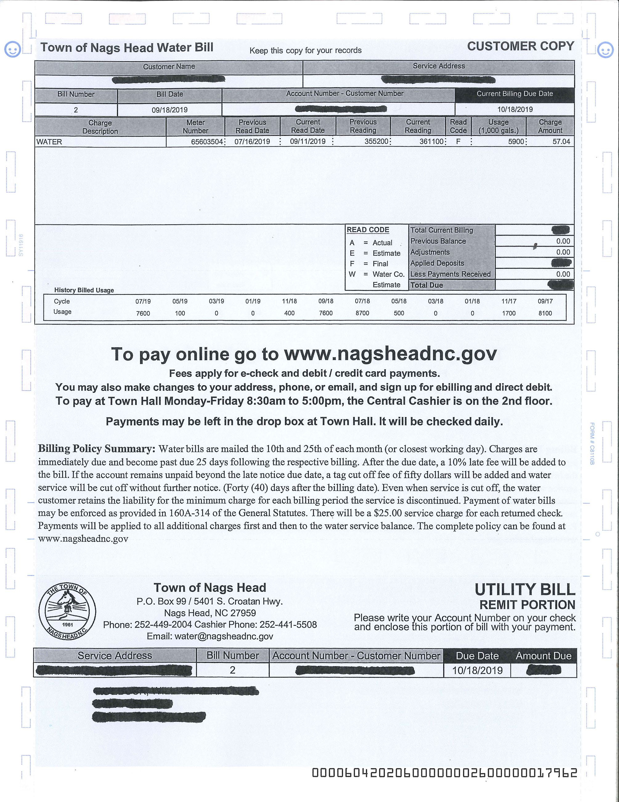 Town of Nags Head Water Bill