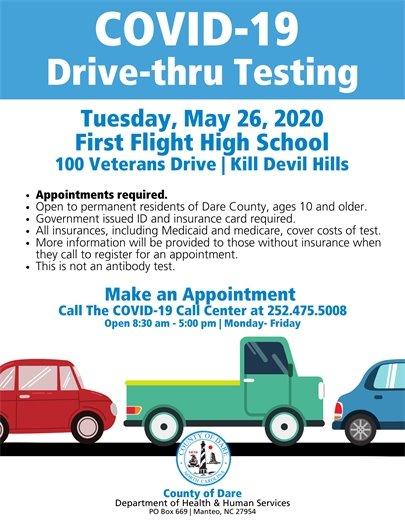 COVID-19 Drive-Thur Testing May 26 at First Flight High School