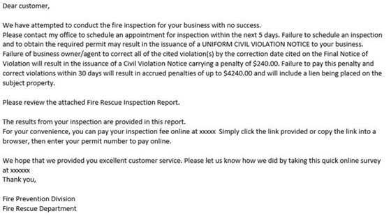 Be aware of a phishing email that seems to be circulating. One of our local realty companies received the email below. It did not come from the Town of Nags Head's Fire and Rescue Department or any government agency. If you have received this email, please do not send them money or click on any of the links in the email. If you any questions, please call the Town of Nags Head Police Department at 252-441-6386.