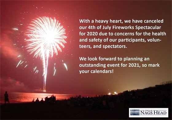 With a heavy heart, we have canceled the July 4, 2020 fireworks spectacular.