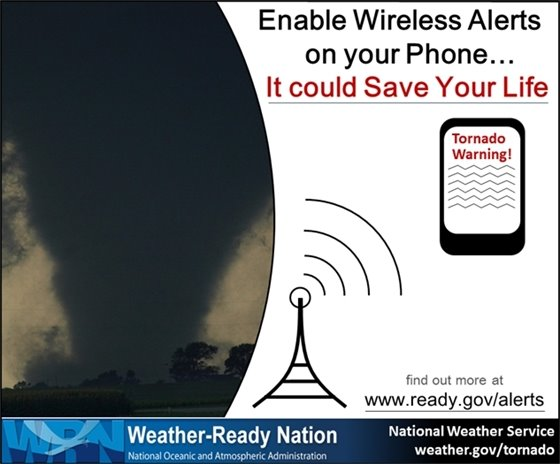 Tornadoes can occur at any time of day, and the nighttime hours are particularly dangerous since most folks are asleep. Keep Wireless Emergency Alerts enabled on your cell phone so you know if you're in the path of a tornado. Find out more at https://www.ready.gov/alerts.