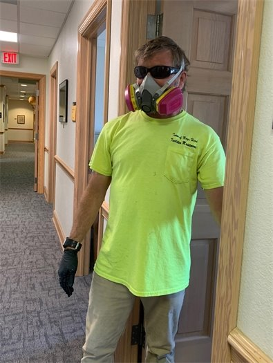 Facilities Maintenance Technicians Bruce Erickson (pictured) and Nehmias Cortez have been keeping our town offices sanitized during the pandemic. Wearing a respirator can't be fun, so we greatly appreciate what they are doing to ensure that those of us who are still working in the Town offices remain healthy.