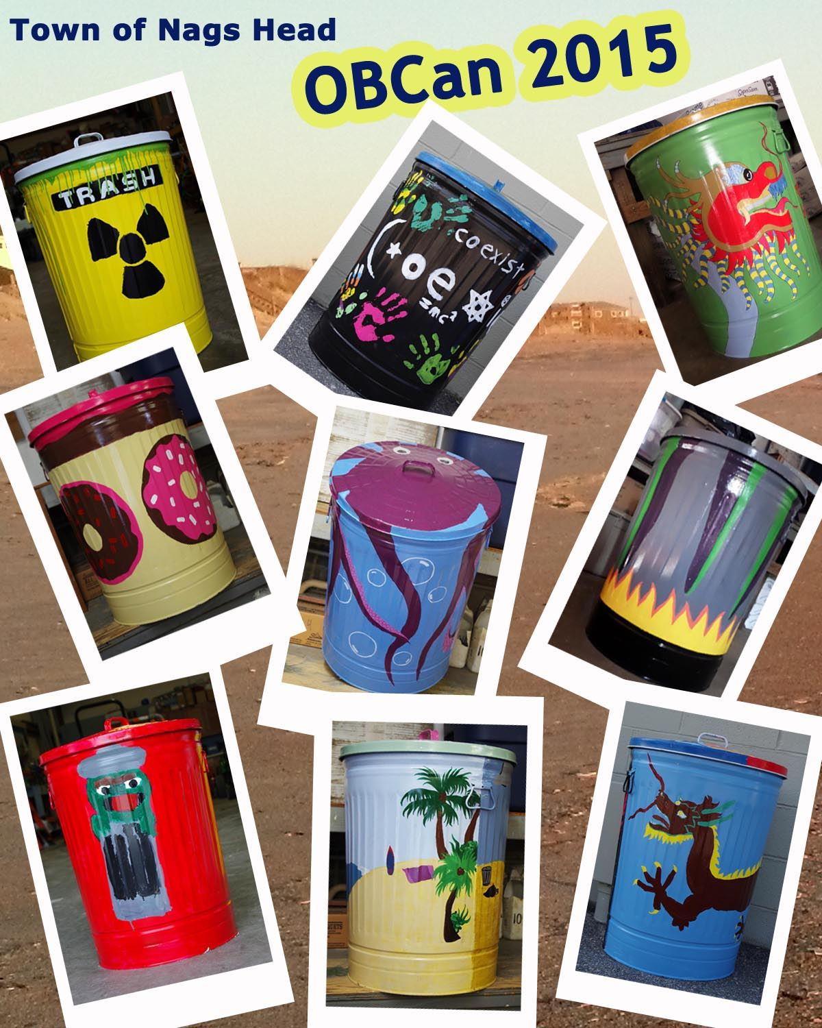 Trashcans Painted for OBCan 2015