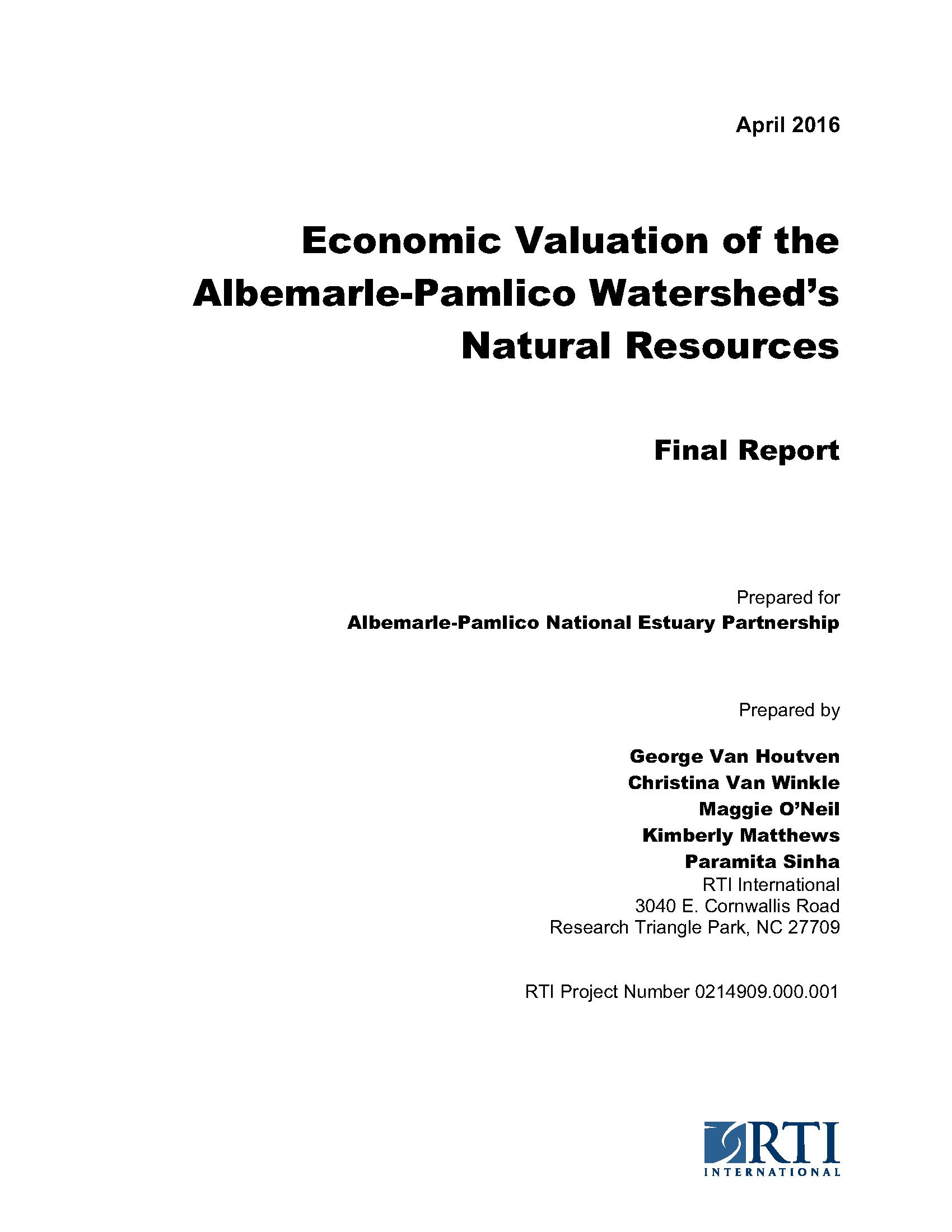 Economic Valuation of the Albemarle-Pamlico Watershed's Natural Resources