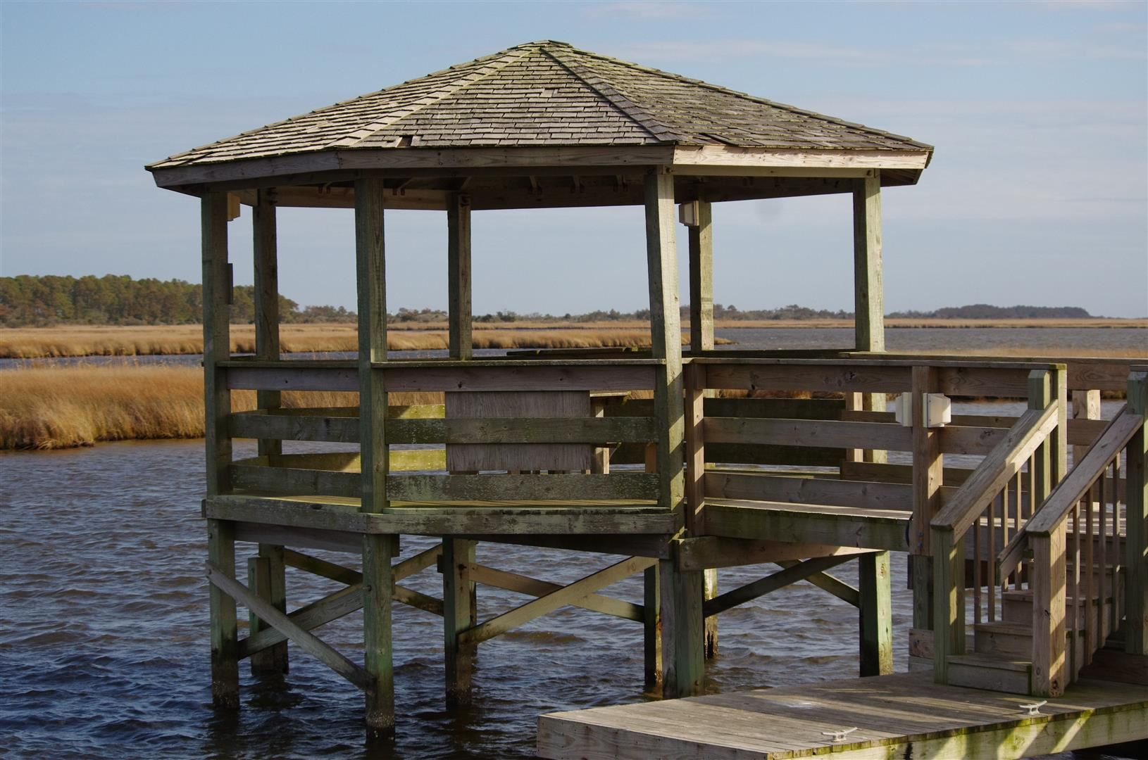 Wooden Gazebo Above Water